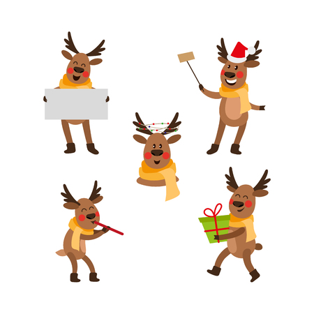 Satz lustige Weihnachtsrenporträt-Vektorillustration. Standard-Bild - 89052454