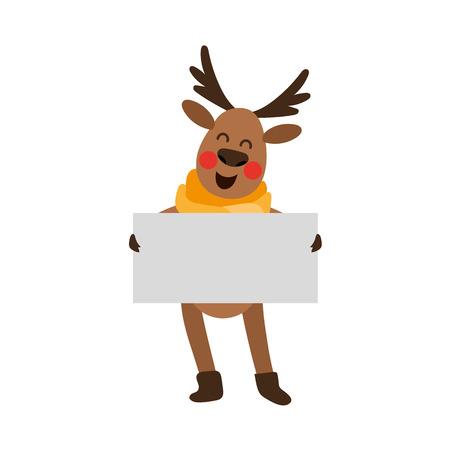 Funny Christmas reindeer character holding blank vector illustration. 向量圖像