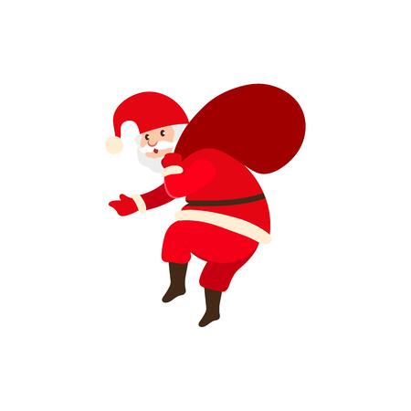 Santa Claus carrying a big bag vector illustration. Illustration