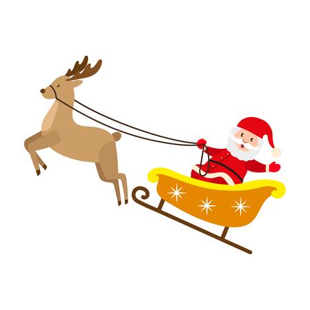 Père Noël à cheval renne traîneau vector illustration. Vecteurs