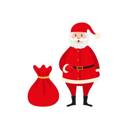 Funny Santa Claus and big bag vector illustration.