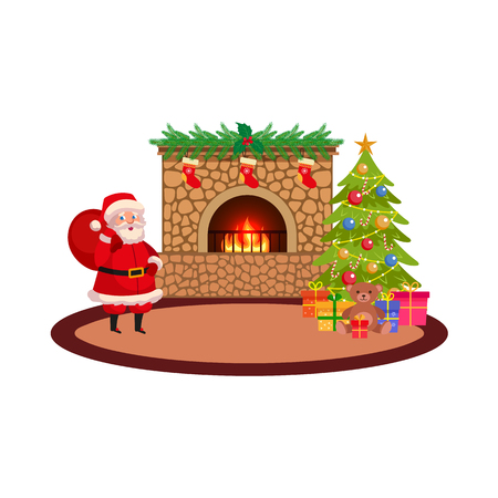Flat Christmas holiday room with decorations vector illustration.