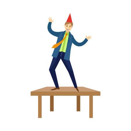 Dancing felice del giovane sull'illustrazione di vettore della tabella. Archivio Fotografico - 89056257