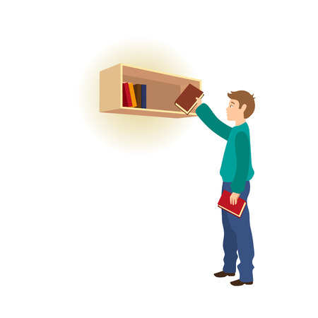 Young man picking a book from bookshelf vector illustration.