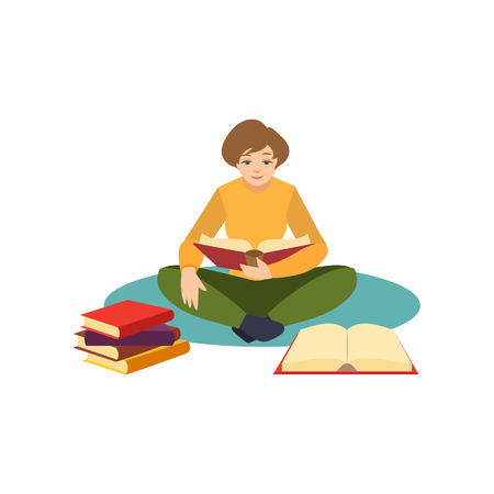 Sitting crossed legs on the floor with a pile of books vector illustration.