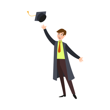 Boy in graduation gown throwing cap up vector illustration.