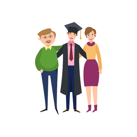 Happy boy in graduation cap and gown hugging with his proud parents vector illustration.