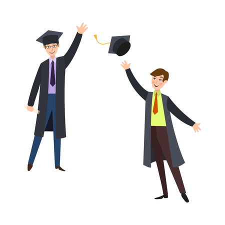 Boys in graduation gowns vector illustration.