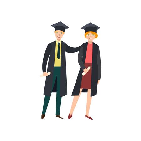 Happy graduate character vector illustration.