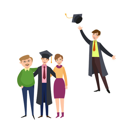 University graduates scenes set vector illustration.