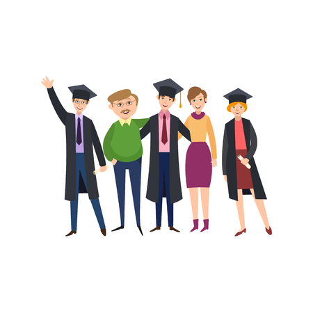 group of young adults: University graduates scenes set vector illustration.