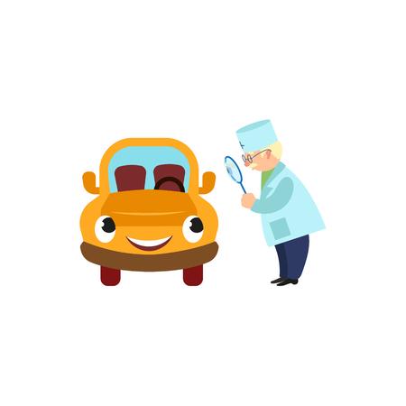 Old doctor making a visual examination of car character vector illustration. Ilustração