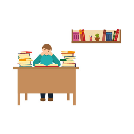 Young man reading in library vector illustration.
