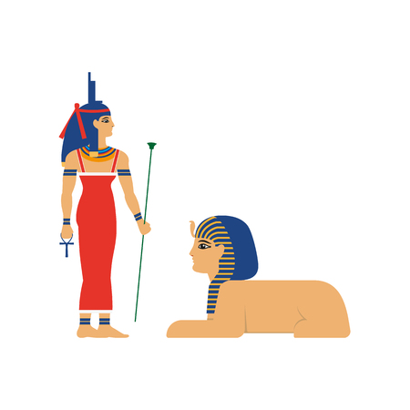 Ancient Egypt god with sphinx vector illustration. Ilustração
