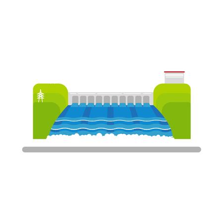 フラット水力発電所のベクター イラストです。