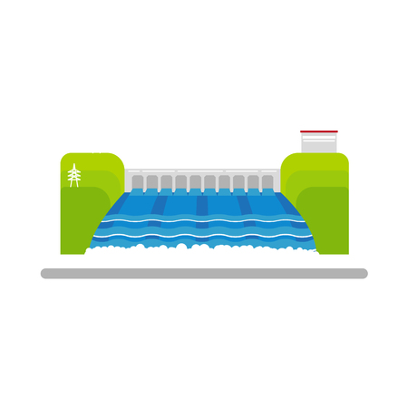 Flat hydroelectric power station vector illustration. Illustration