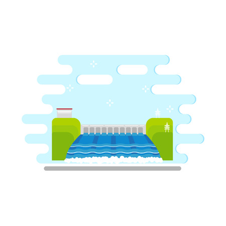 Flat hydroelectric power station vector illustration. 向量圖像