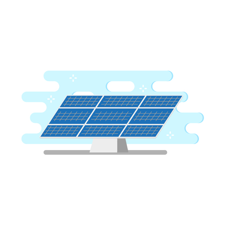 Flat solar panel icon vector illustration.