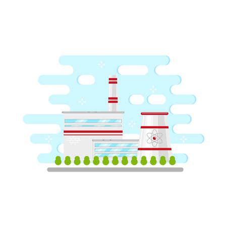 Flat nuclear power plant station icon vector illustration. Illustration