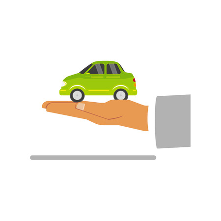 Hand palm keeping green ecological electric car vehicle vector illustration.