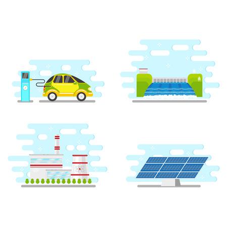 Flat renewable and alternative energy icon set vector illustration. Çizim