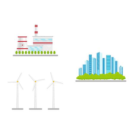 Flat renewable and alternative energy icon set vector illustration. Illustration