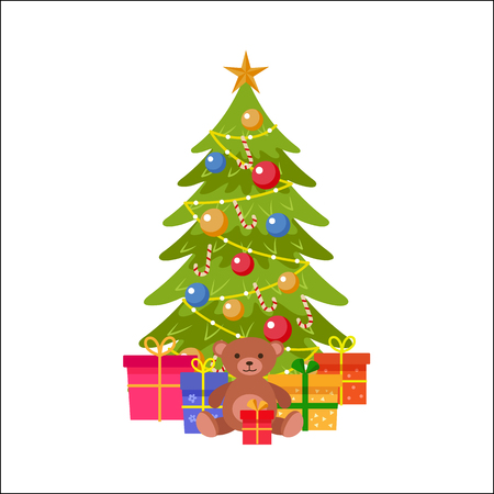 Spruce tree with Christmas decoration vector illustration. Ilustração