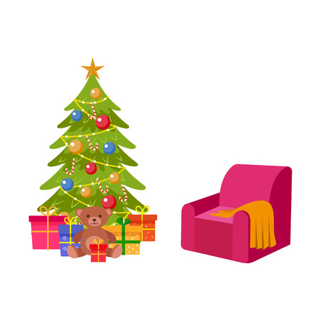 Spruce tree with Christmas decoration and armchair vector illustration. Illustration