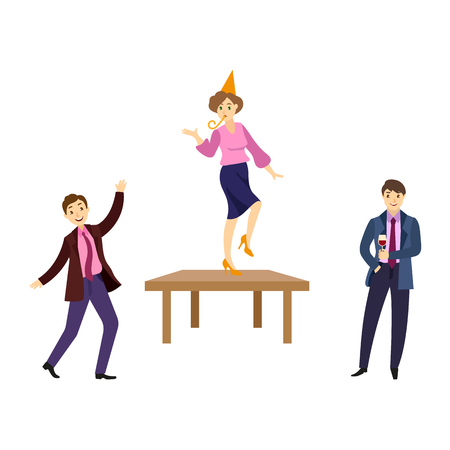Happy people dancing on a table vector illustration.