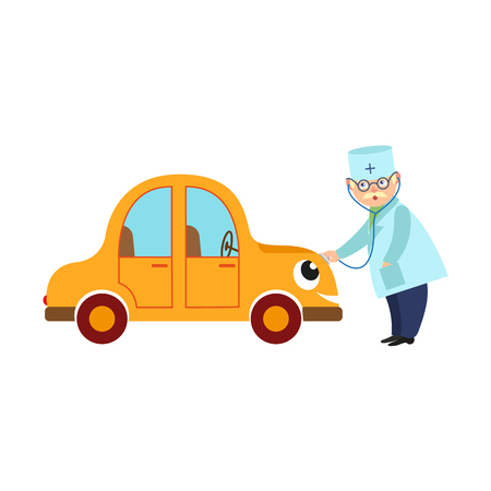 Flat doctor and car character vector illustration.
