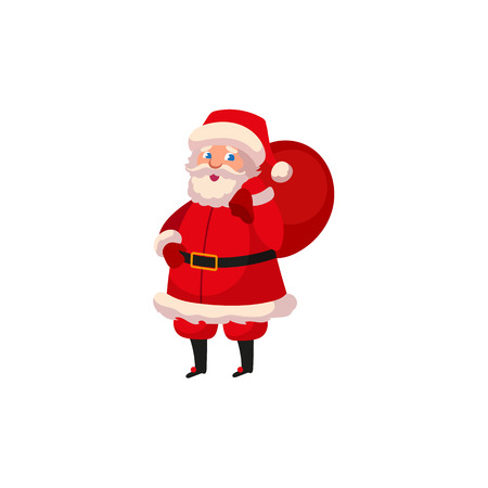 Flat cartoon Santa Claus in Christmas vector illustration.