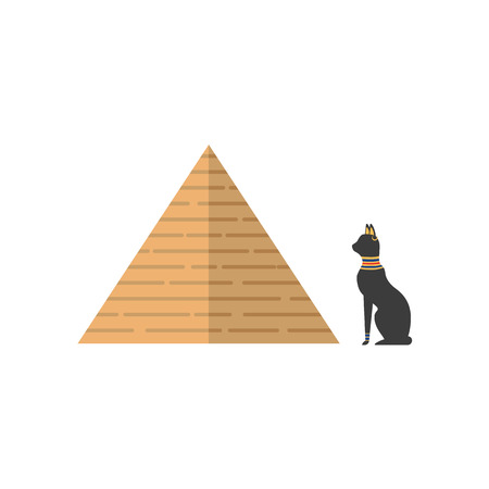 Flat big Egypt pyramid and sacred black cat icon vector illustration. Ilustração