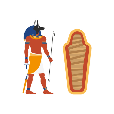 Flat Anubis character vector illustration.