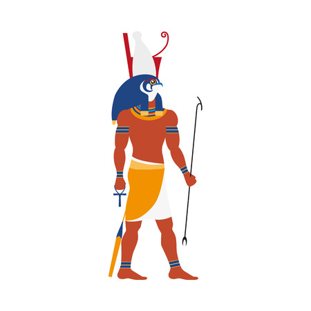 Flat Horus character vector illustration.