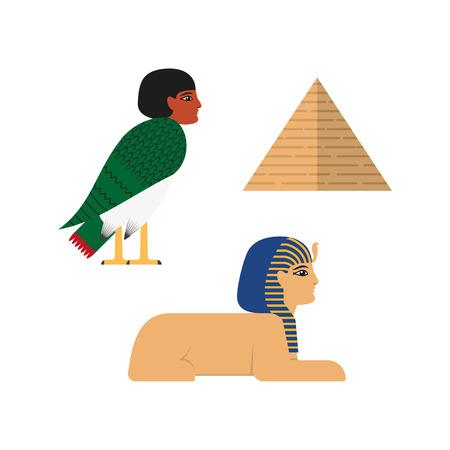 De vlakke mythische symbolen van Egypte geplaatst vectorillustratie.