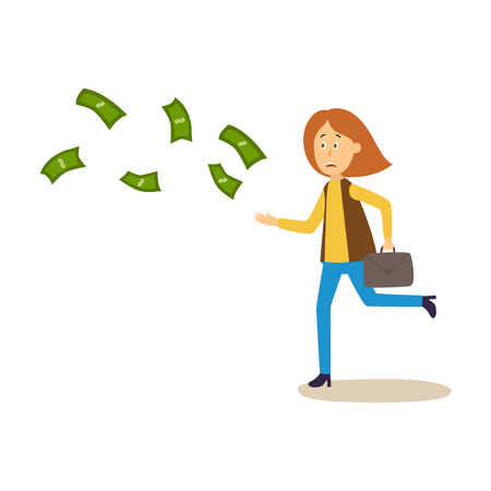 Woman running after money flying away vector illustration.