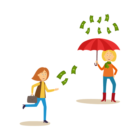 Earning and wealth concept with flying money vector illustration.