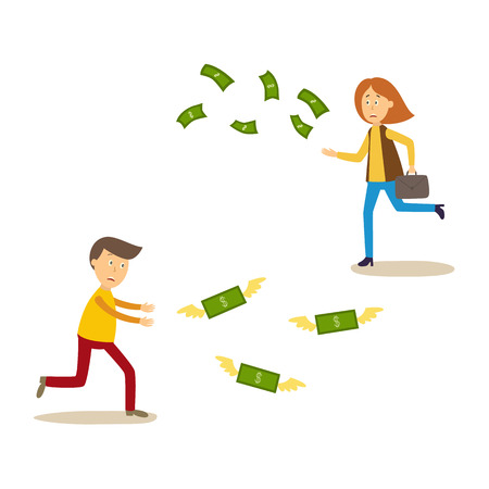 Upset man and woman running after money flying away vector illustration. Illustration