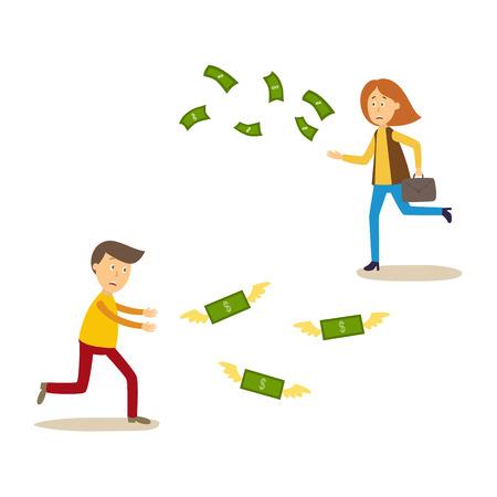 Verstoorde man en vrouw die na geld lopen die vectorillustratie wegvliegen. Stock Illustratie