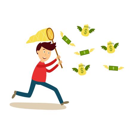 Gelukkige mens die na vliegende geld vectorillustratie lopen.