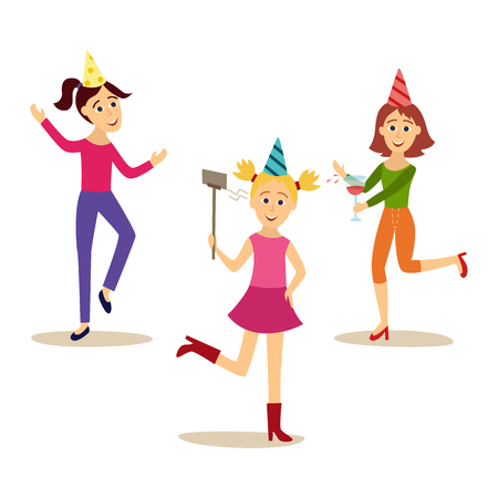 Flat girls in party hat set vector illustration.
