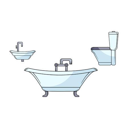 Sketch bathroom appliances set vector illustration.