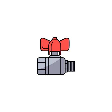 스케치 스타일 물 밸브 빨간색 피팅 벡터 일러스트와 함께.