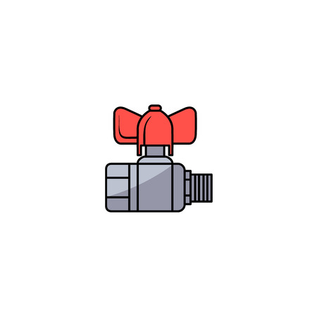 Sketch style water valve with red fitting vector illustration.