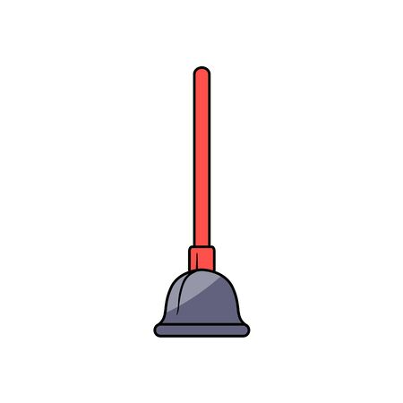 Style plumbing plunger with red wooden handle vector illustration.