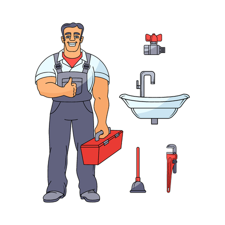 Sketch handsome muscular man in uniform holding case with tools showing thumbs up vector illustration.