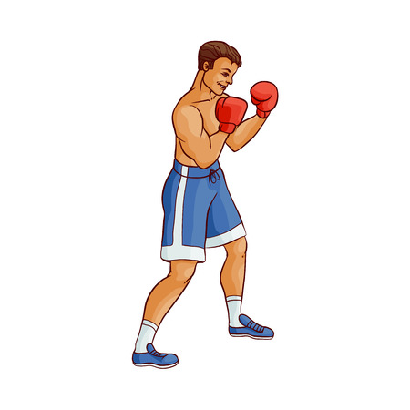 Cartoon muscular boxer man vector illustration.