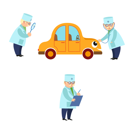Flat stylized adult male doctor and car vector illustration.