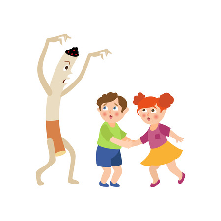Huge cigarette frightening little kids vector illustration. Illustration