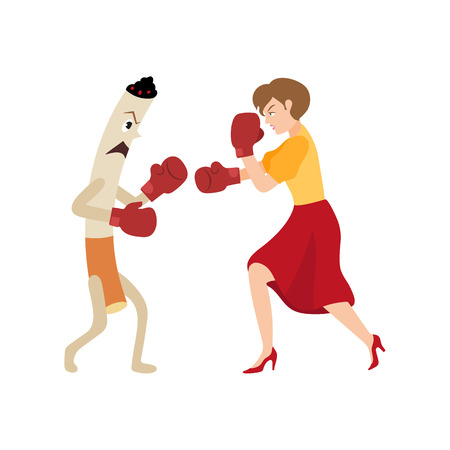 Young woman fighting a huge cigarette in box gloves vector illustration. Illustration